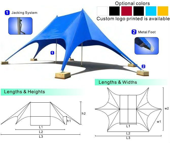 Star Shade Tents For Sale,Alunimun Double Star Tent,Aluminum Star ...