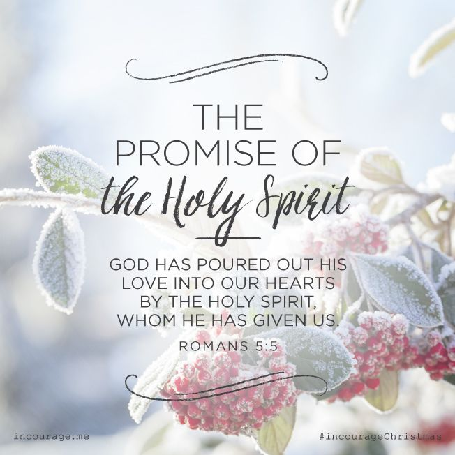 "Day 8- The Promise of the Holy Spirit // ""God has poured out His love into our hearts by the Holy Spirit, whom He has given us."" {Romans 5:5} // 25 Days of Christmas Promises #incourageChristmas"