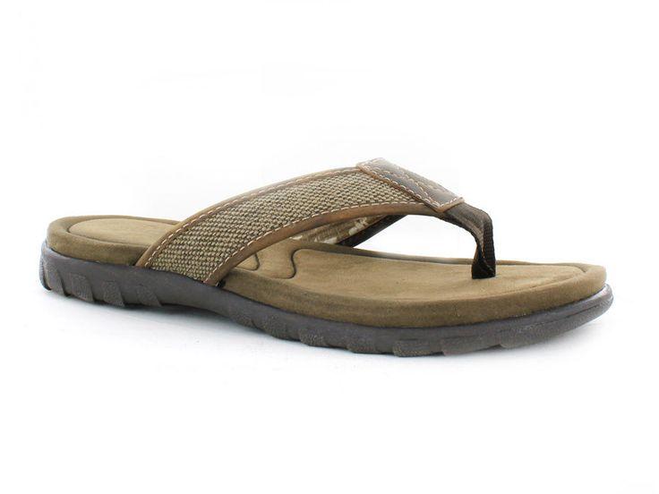 NEW Crevo Men's Mocha Hemp Leather Slide Brown Sandals Flip Flops Size 8