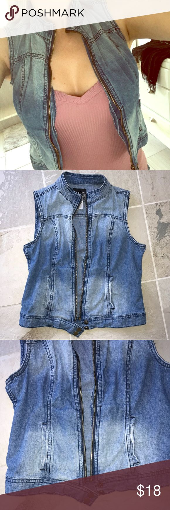 NEW light denim zip up Moto vest Brand new without tags. Light denim wash with intended fading. Zip up with bottom snaps. Tags: free people Zara ASOS Zappos Nordstrom lulus Macy's Anthropologie brandy Melville forever21 Charlotte Russe Jackets & Coats Vests