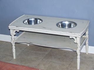 Something Salvaged: dog feeders, dog beds, other amazing salvage projects. This girl is amazing!