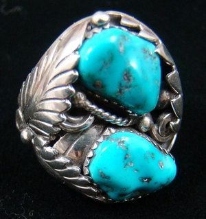 Vintage XLG Navajo Double Turquoise Leaves Cast Ring by J.Tso