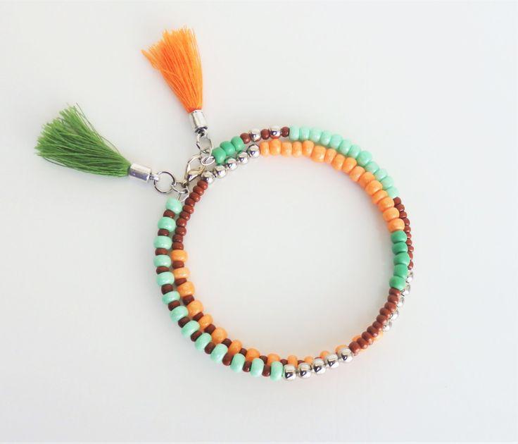 friendship bracelet, bohemian jewelry, beaded bracelet, bracelet friendship with tassel, colorful bracelet, gift for her by MontradaCarolina on Etsy