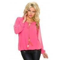 Ibiza style blouse top met veer koraal
