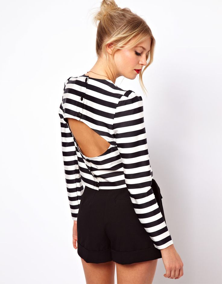 ASOS Top with Open Back in Stripe Print