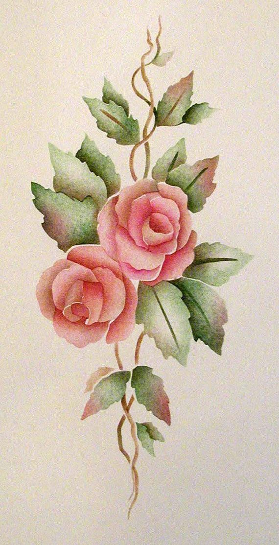Painting Stencil Rose Bouquet Stencil Wall Rose By ElegantStencils