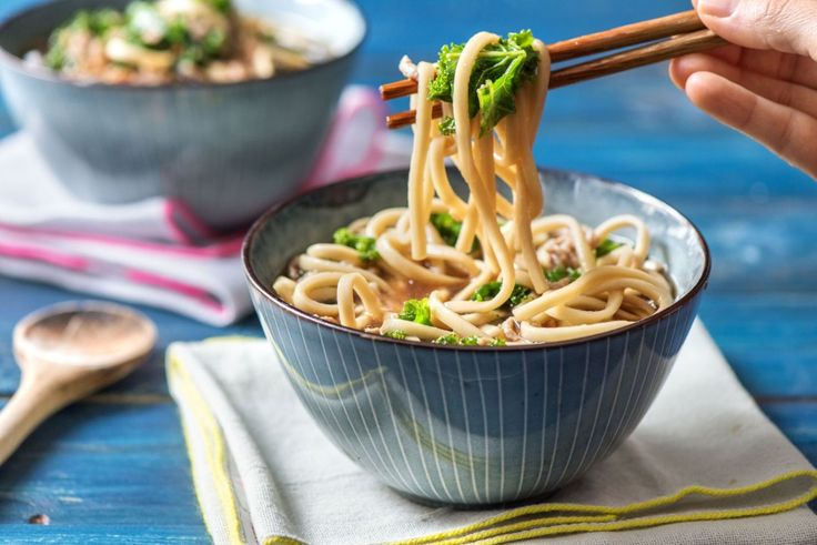 Spicy Pork and Kale Soup with Udon Noodles, Ginger, and Thai Chili