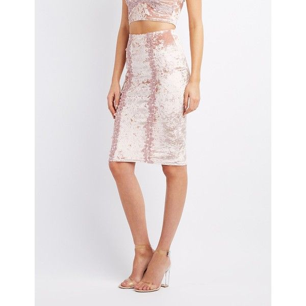 Charlotte Russe Crushed Velvet Pencil Skirt ($13) ❤ liked on Polyvore featuring skirts, mauve, bodycon pencil skirt, floral pencil skirts, floral knee length skirt, white crochet skirt and white pencil skirt