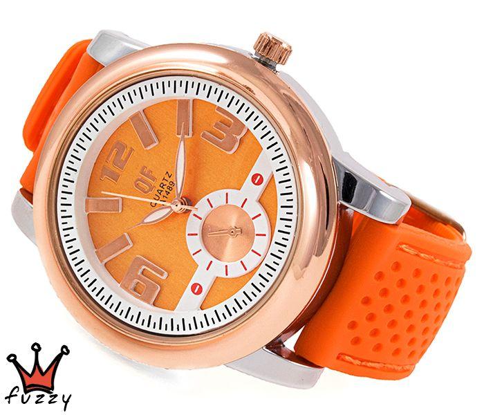 Γυναικείο ρολόι, με ροζ χρυσό και ασημί κάσα και λευκό /πορτοκαλί σε κλασσική γραμμή εσωτερικό καντράν.  Λουράκι σε πορτοκαλί χρώμα από σιλικόνη με πορτοκαλί ραφές. Διάμετρος καντράν 44 mm.
