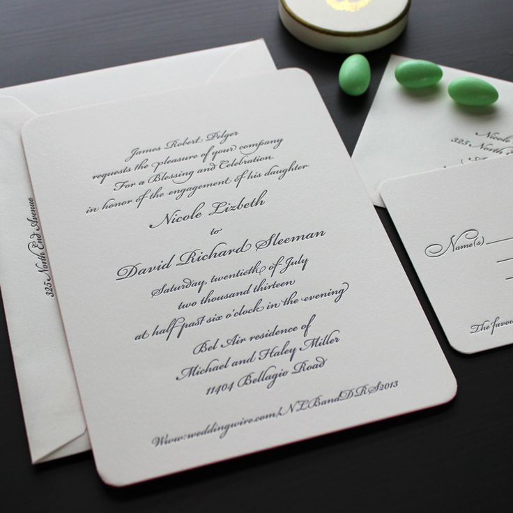 Traditional Bickham Script Letterpress Wedding Invitation