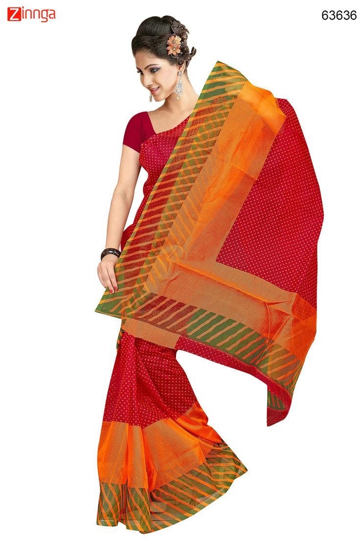 Wonderful Printed Pallu Saree in Red & Orange Color. Message/call/WhatsApp at +91-9246261661 or Visit www.zinnga.com