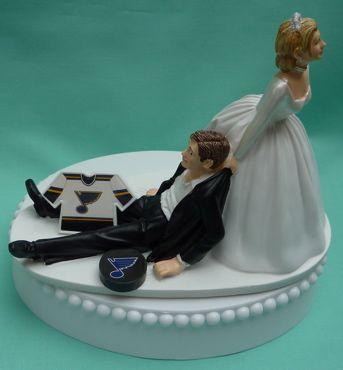 Wedding Cake Topper - St. Louis Blues Hockey Themed Jersey Saint