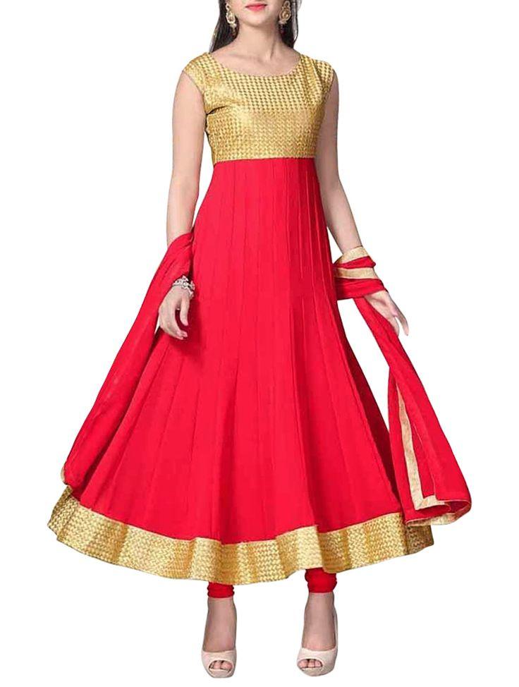 Blazing Red & Gold Embroidered Anarkali Salwar Kameez. #AnarkaliSalwarKameez #AnarkaliSalwarSuit