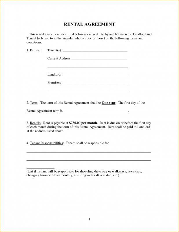 Free Printable Basic Rental Agreement Rental Agreement Templates