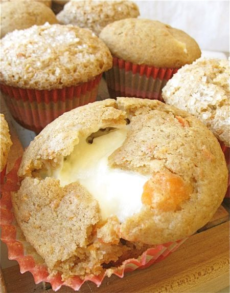 carrot cake muffins with cream cheese filling - heaven
