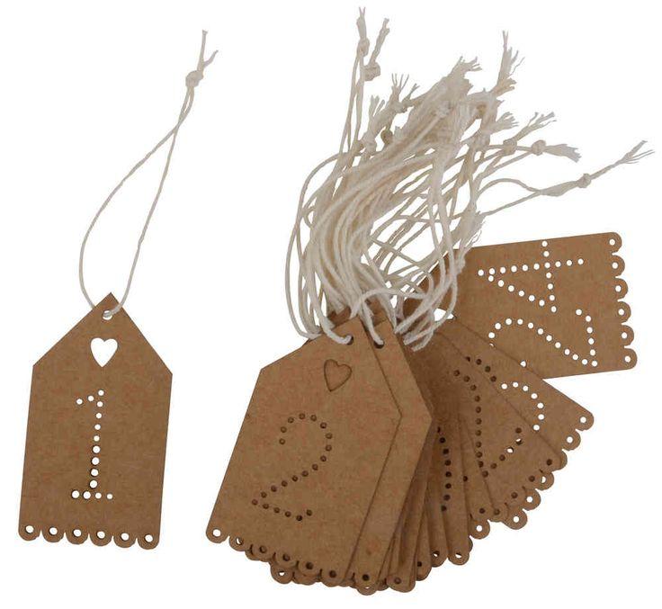 Joulukalenterinumerot 1-24 - Emma's & Mama's shop - Näillä teet kauniin joulukalenterin esimerkiksi itse askarrelluista tuotteista.