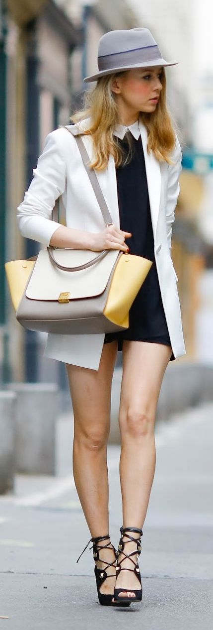 Pardon My Obsession Black And White Urban Chic Outfit: hat, collared dress, blazer #ss