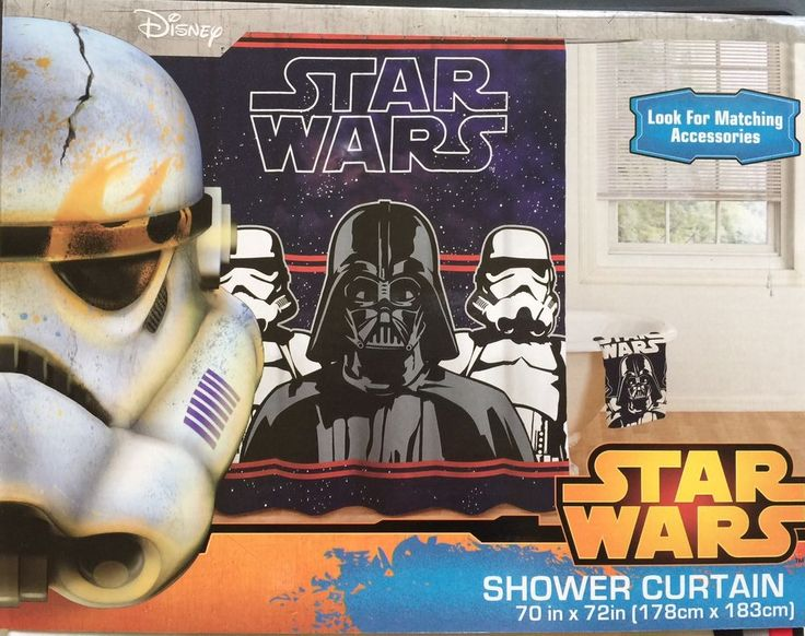 "Star Wars Shower Curtain Disney 70"" x 72"" Darth Vadar Stormtrooper Polyester New #Disney"