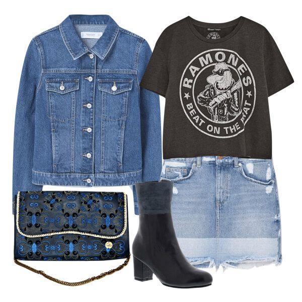 Double denim outfit! Porque se vale crear un total look con esta prenda que tanto nos gusta, esta vez en un estilo rocky con camiseta y botines.