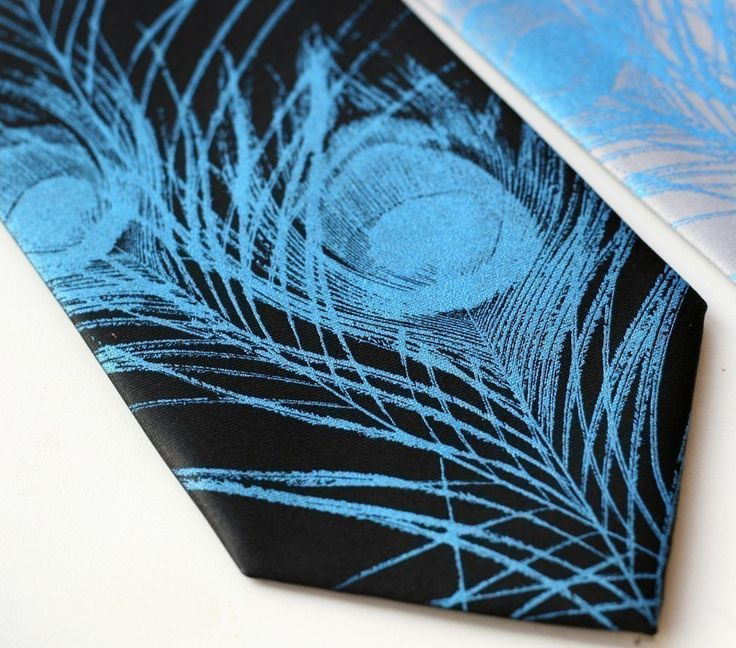 Peacock Feather men's silkscreened silk necktie. Screen printed tie. Choose electric blue or silver ink.. $40.00, via Etsy. @Katariina Gibby