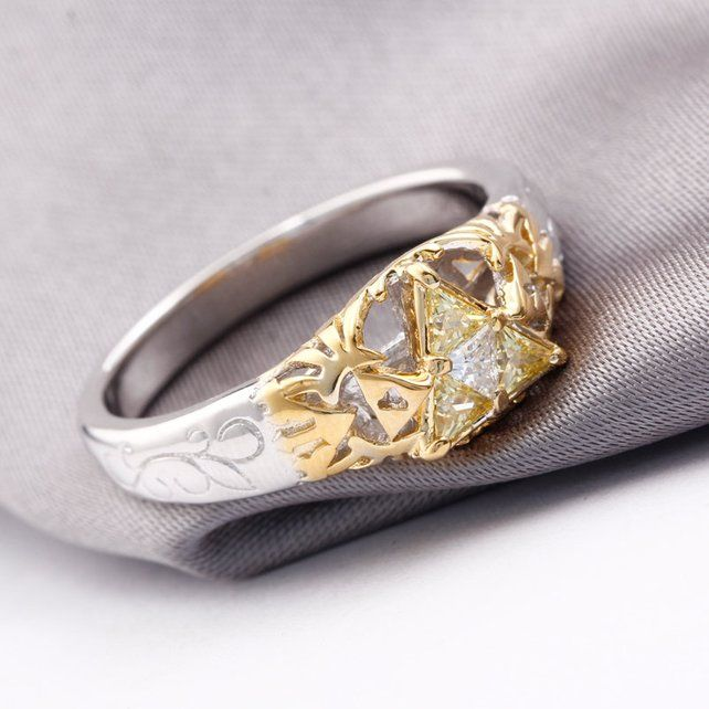 Triforce Zora Spiritual Stone Engagement Promise Wedding Ring Womens Engagement Rings Rose Engagement Ring Vintage Art Deco Engagement Ring