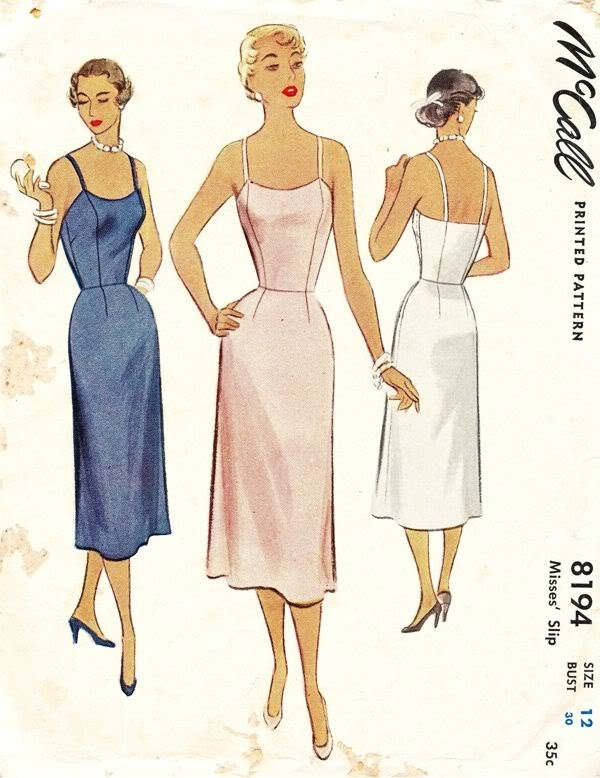 McCall's Pattern 8194 Vintage 50s Elegant straight Slip!