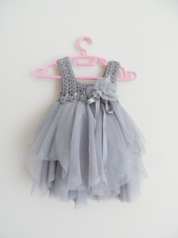 Silver Gray Baby Tulle Dress with Empire Waist and Stretch Crochet Top.Tulle dress  for girls with lacy crochet bodice.