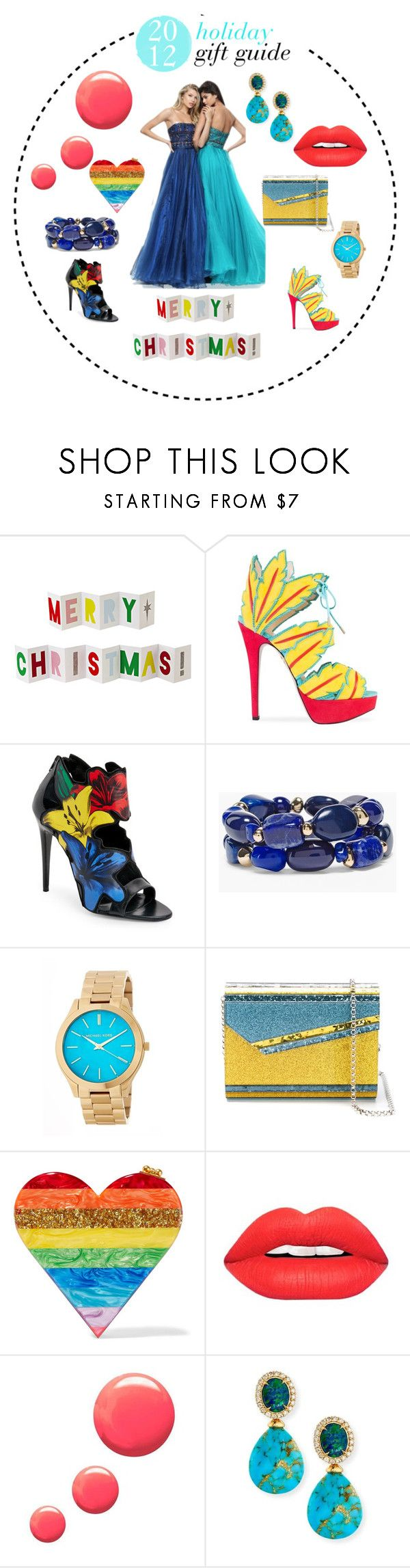 """""""holiday gift guide for yo squad"""" by jahnaeboo11 ❤ liked on Polyvore featuring Meri Meri, Charlotte Olympia, Chico's, MICHAEL Michael Kors, Jimmy Choo, Edie Parker, Topshop and Rina Limor"""