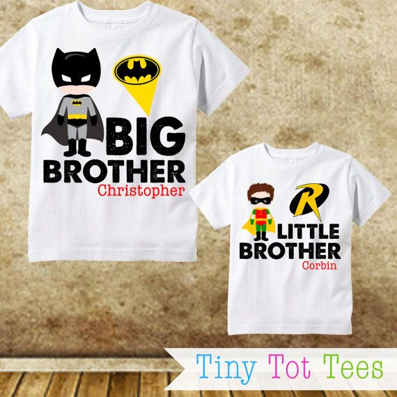 Batman and Robin Sibling Shirt Set - Personalized with Big and Little Brother Name