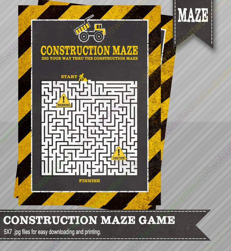 Construction Maze Game - Construction party - Construction party supplies - Party Games - Construction party games - Maze Game by WolcottDesigns on Etsy
