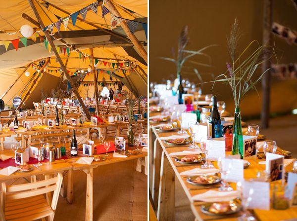 Eco friendly boho table decorations, bright and sunny tipis - images by http://www.greenphotographic.co.uk/
