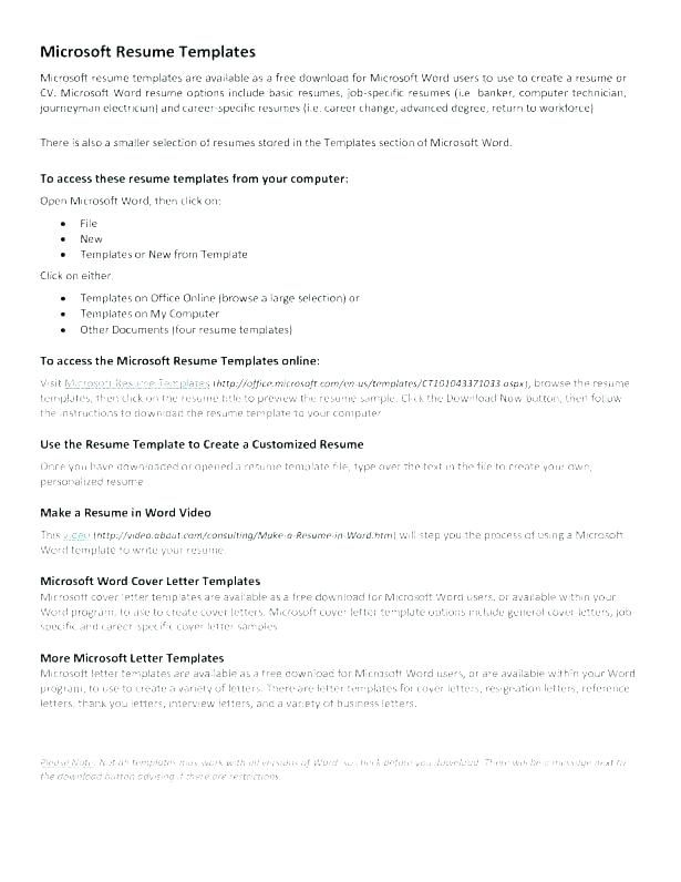 Microsoft Resume Templates Samples Write A Resume Template 2019