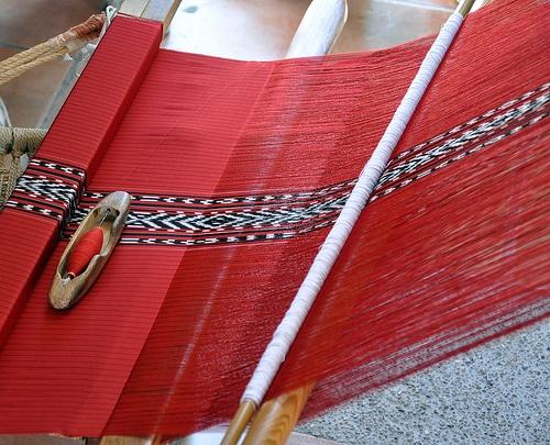 Linear threads create shredded lacy effects! Rebozo de Sta. Maria.