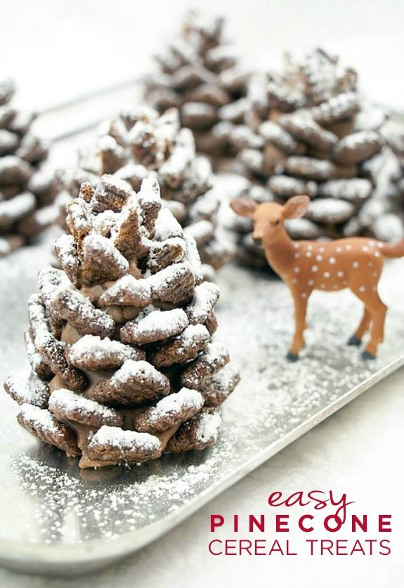 """Have you ever made something that almost looked too good to eat? We can't get over this amazing, quick, and easy Chocolate Pinecone Treats recipe that's made with cereal and sprinkled with a fresh coating of powdered sugar """"snow."""""""