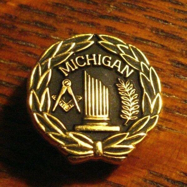 Michigan Masonic Lodge Lapel Pin - Vintage Freemason Member