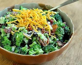 Broccoli Bacon Raisin Salad, my grandma makes this all the time and adds cauliflower, so good!