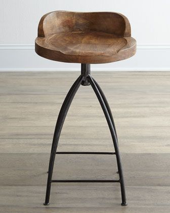 Wood+Swivel+Counter+Stool+by+Arteriors+at+Neiman+Marcus.