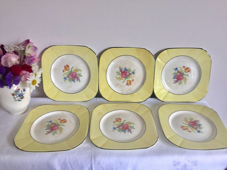 A personal favourite from my Etsy shop https://www.etsy.com/uk/listing/532858604/art-deco-yellow-side-plates-antique-6