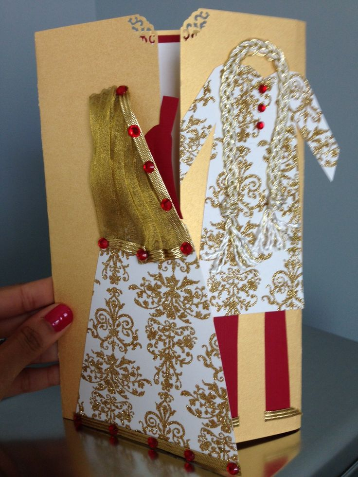 Handmade Indian Bridal Shower Or Wedding Card With Bride And Groom Similar To Gown Invitation