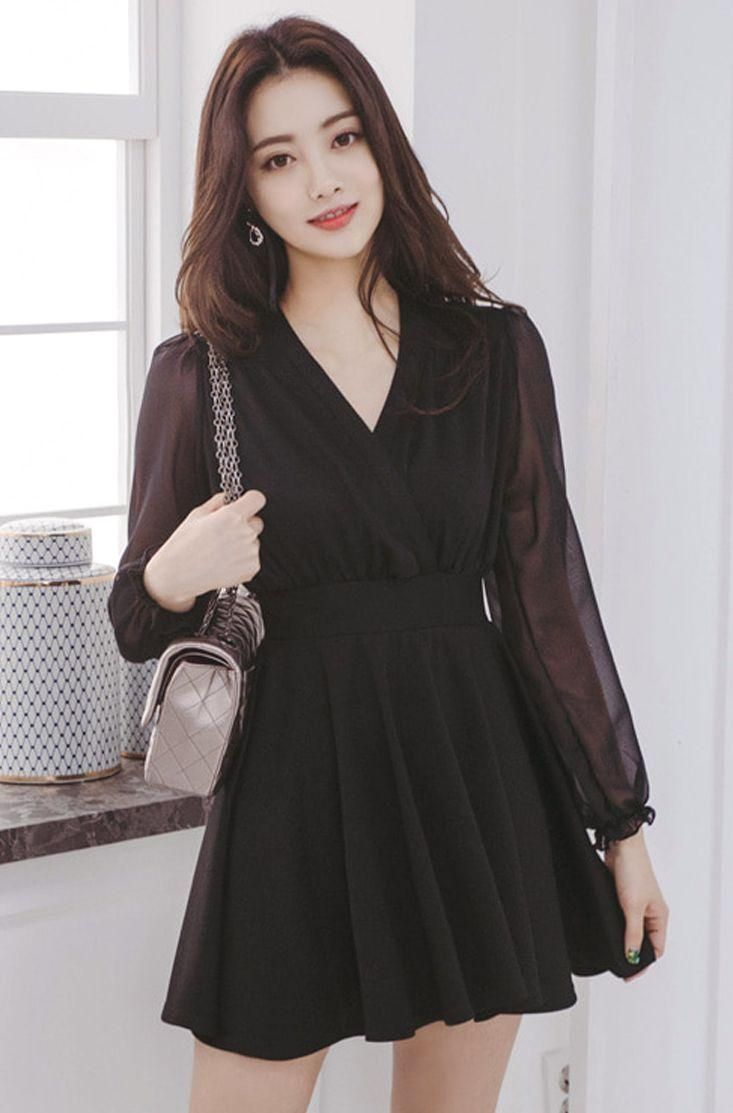 Sheer Sleeve Wrap Dress Chlo D Manon Black Slimfit Dress Elegant Koreanfashion Kstyle Kfas In 2021 Korean Dress Elegant Fashion Dresses Korean Fashion Dress [ 1113 x 733 Pixel ]