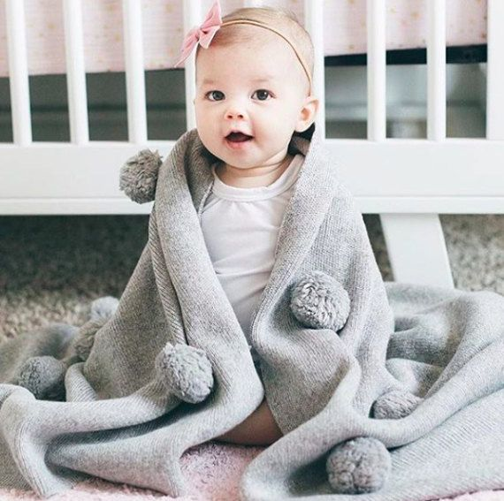 Baby POMPON blanket made from Soft Merino Wool Big Size. Soft , warm and cloudy blankets , make used by the children from 0+.  #merino #blanket #wool #cozy #baby #kids #small #pompom #knitted #soft #Handmade #gift #warm #plaid #children lapetitejoie.com