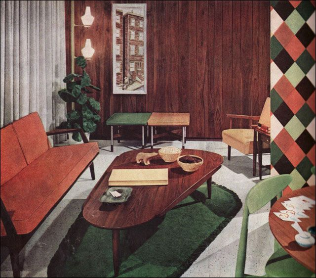 Mid Century Danish Modern Living Room 50's retro interior design - google search | 50's - 70's stone