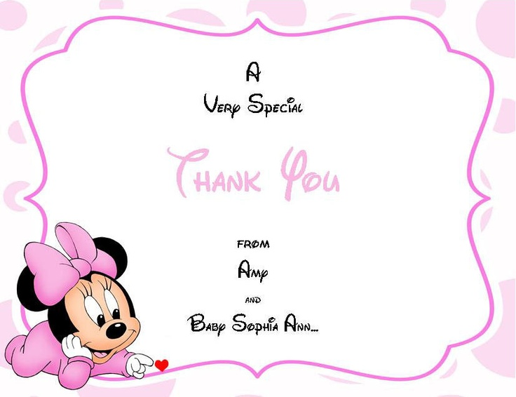 24 baby minnie baby shower thank you cards by bugaboosdesigns disney