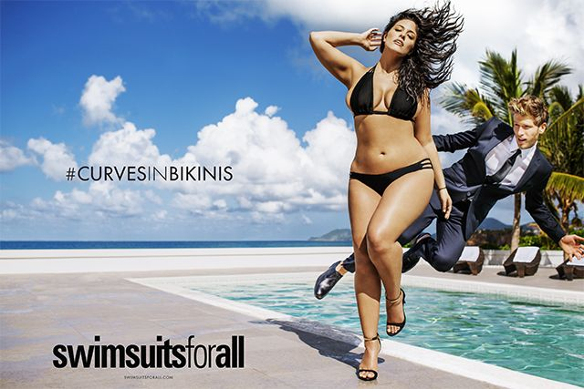 Plus-Sized Model Ashley Graham Rocks Tiny Bikini in 'Sports Illustrated' Swimsuit Ad  She's so hot she scared away his shadow. glj