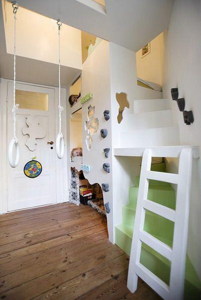 bunk bedKids Bedrooms, Kids Spaces, Climbing Wall, Bunk Beds, Kidsroom, Room Ideas, Kid Rooms, Playrooms, Amazing Kids Room