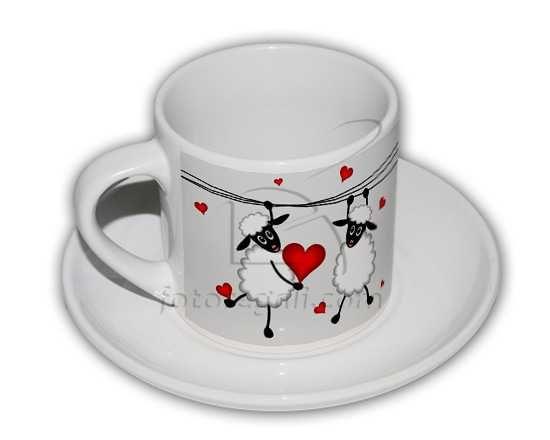 Tazzina da caffè con grafica con pecore