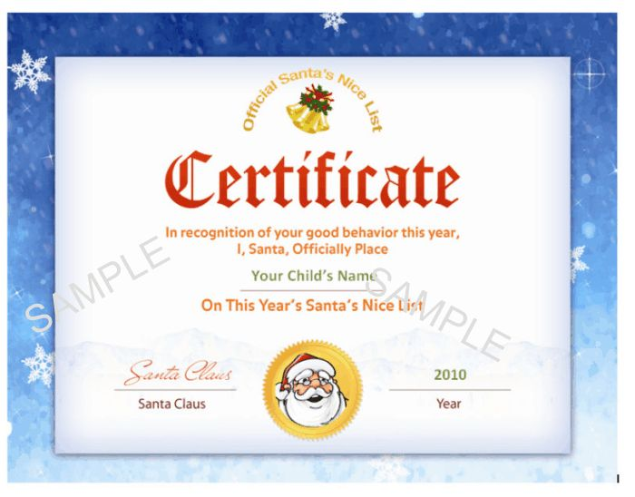 Another Santa's Nice List certificate