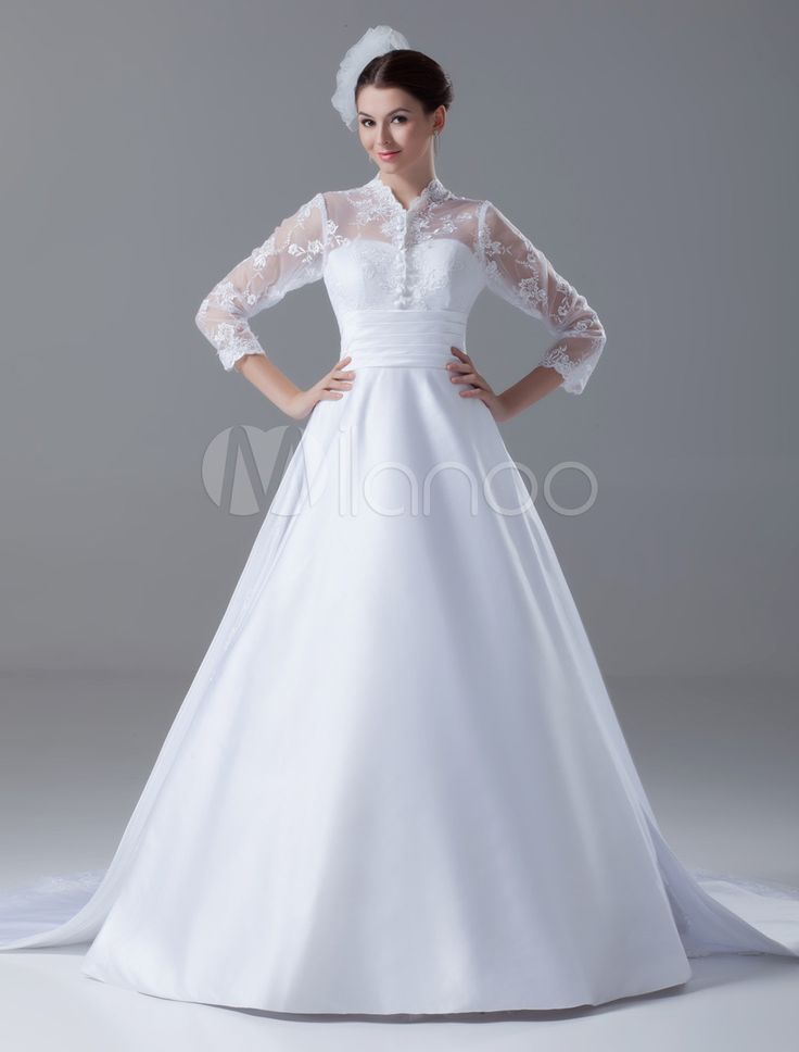 1940s style wedding dress : Court Train White Ball Gown Lace Bridal Wedding Gown with High Collar $229.99 AT vintagedancer.com