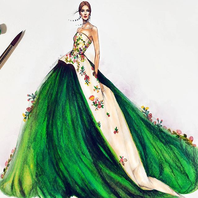 flesh tint, phtalo green, and yellow green #acrylic on paper  (Monique lhuillier '17 dress design)  #fashiondesign #gown #green #fashion #sketch #design #dress #designer #art #artist #drawing #fashionillustration #illustrator #illustration #model #highfashion #style #fashionillustrator #fashiondrawing