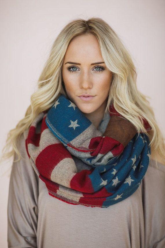 American Flag Scarf, Knit Loop, Stars & Stripes, Team USA Infinity Scarf, Cozy American Flag Loop with Leather Cuff (SCF-99) on Etsy, $68.00
